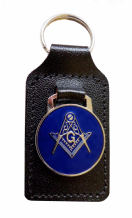 "Square & Compasses with ""G"" Black Leather Masonic Key Fob - K017"